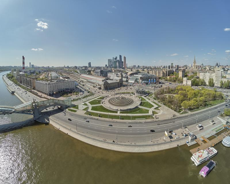Russia,Moscow,Moscow Kiyevsky railway station-May 2019 - aerial panoramic view of Moscow Kiyevsky railway station royalty free stock photo