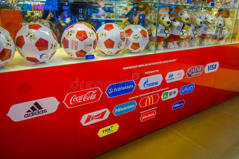 RUSSIA, MOSCOW, NOVEMBER 2017: Indoor view of the official ball of the World Cup 2018 Adidas Telstar, which was held in royalty free stock image
