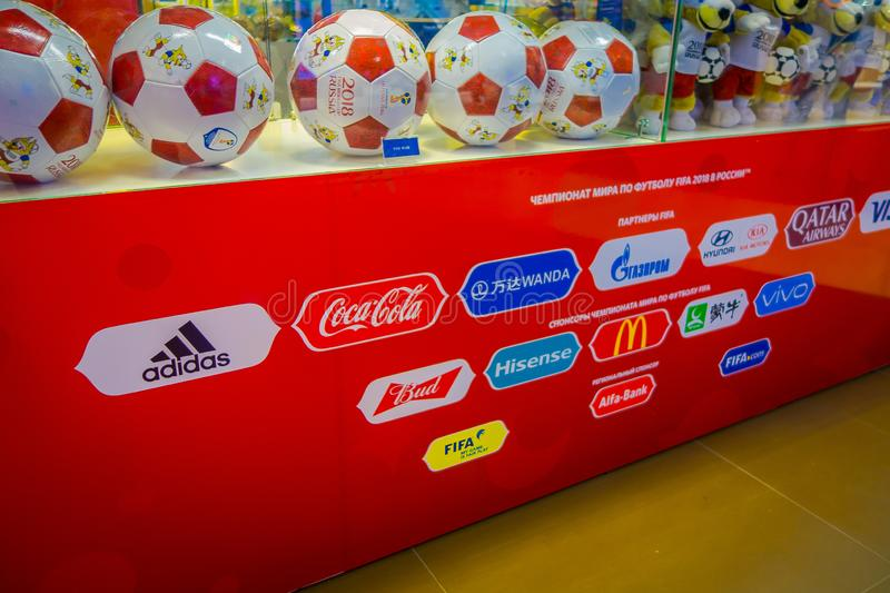RUSSIA, MOSCOW, NOVEMBER 2017: Indoor view of the official ball of the World Cup 2018 Adidas Telstar, which was held in royalty free stock photo