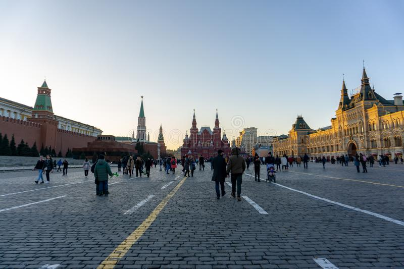 Russia, Moscow 07 November, 2018: Moscow, red square, on the right side of GUM Main Universal Store. Russia, Moscow, 07 November, 2018: Moscow, red square, on royalty free stock images