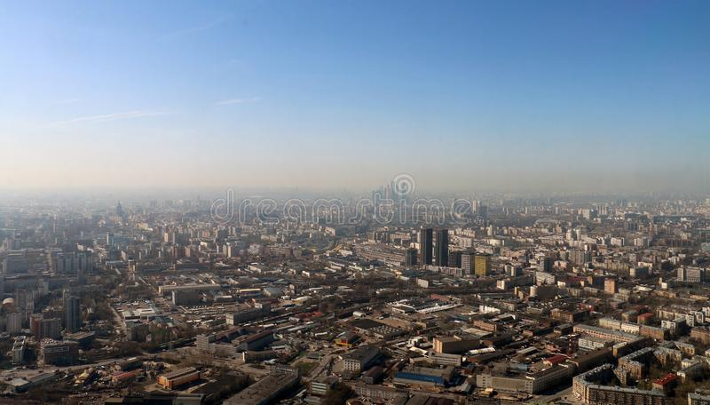 Moscow from the Ostankino television tower royalty free stock photography