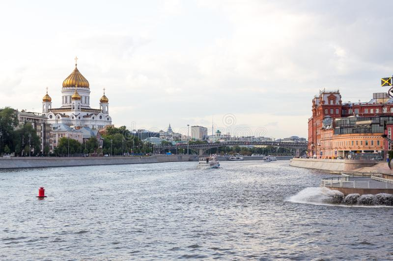 Russia, Moscow,  Panorama of the city near the Krymsky  Val. Russia, Moscow, July 14. 2019: Panorama of the city near the Crimean Shaft. Views of the Moskva royalty free stock photo