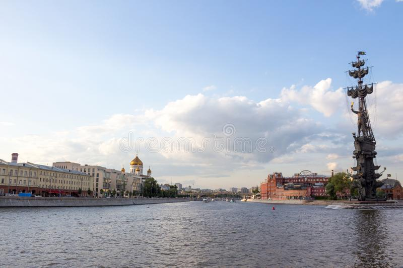 Russia, Moscow,  Panorama of the city near the Krymsky  Val. Russia, Moscow, July 14. 2019: Panorama of the city near the Krymsky  Val. Views of the Moskva river royalty free stock photos
