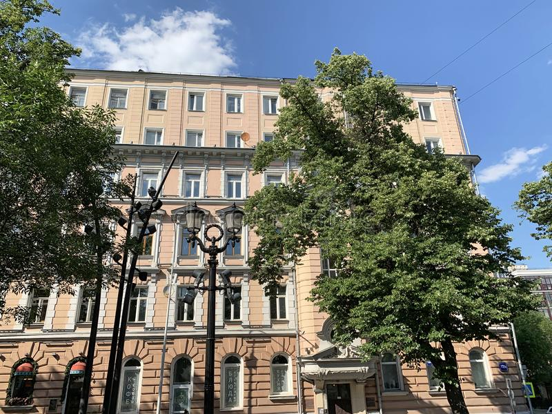Russia, Moscow, Petrovsky Boulevard, 17/1. The apartment house of a wine merchant Depre 1902, architect R. I. Klein, now is resi. Dential building stock photo