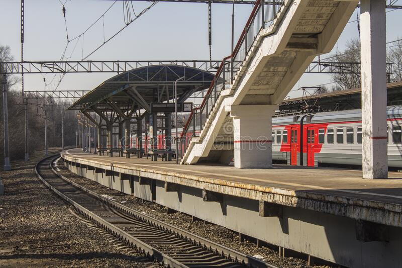 Russia, Moscow: Platform, stop, suburban electrics. Rails royalty free stock photos