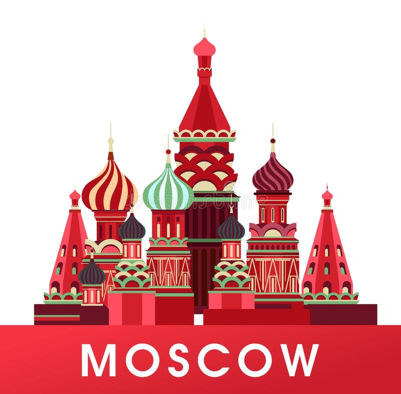 Russia Moscow poster. Vector illustration of emblem of Russia Moscow Cathedral isolated white background royalty free illustration