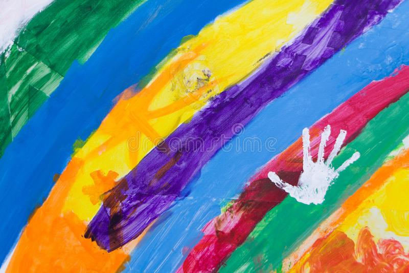 Russia, Moscow, 02.06.2019: Rainbow with a handprint on a street festival for children. royalty free illustration