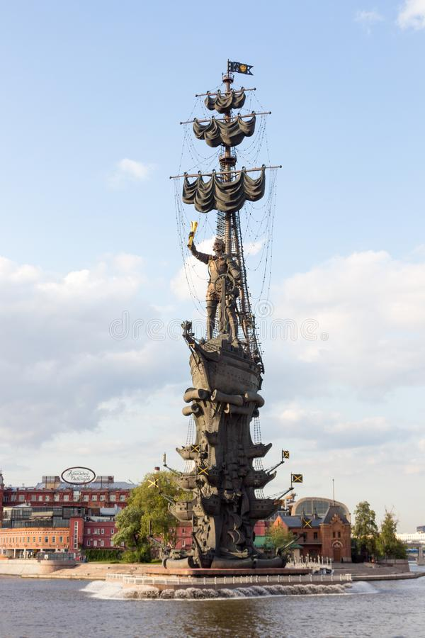 Russia, Moscow,  Red October,  Monument to Peter the great. Russia, Moscow, July 14. 2019:  Red October, the Monument to Peter the great, river, view, sky, style stock image