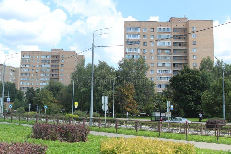 Mytischi. The Yaroslavl district. Yubilejny Street. Russia. Moscow region. July 2019. Walk through the new part of Mytishchi. Photos taken during this walk royalty free stock image