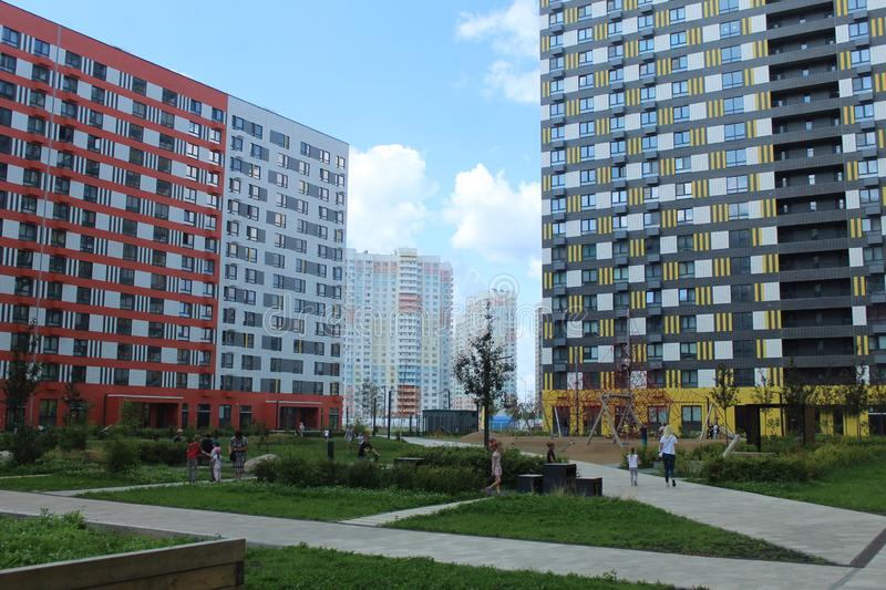 Mytischi. The Yaroslavl district. New buildings in the city. Russia. Moscow region. July 2019. Walk through the new part of Mytishchi. Photos taken during this stock photos