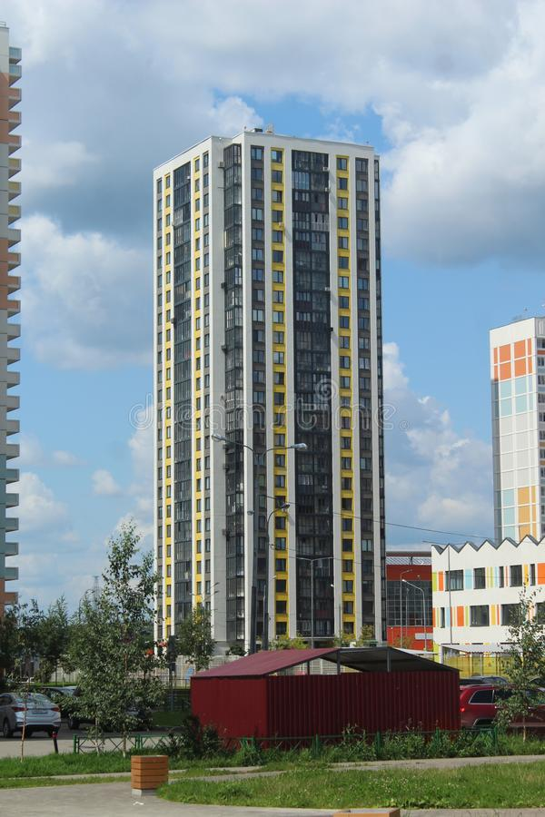 Mytischi. The Yaroslavl district. New buildings in the city. Russia. Moscow region. July 2019. Walk through the new part of Mytishchi. Photos taken during this royalty free stock image