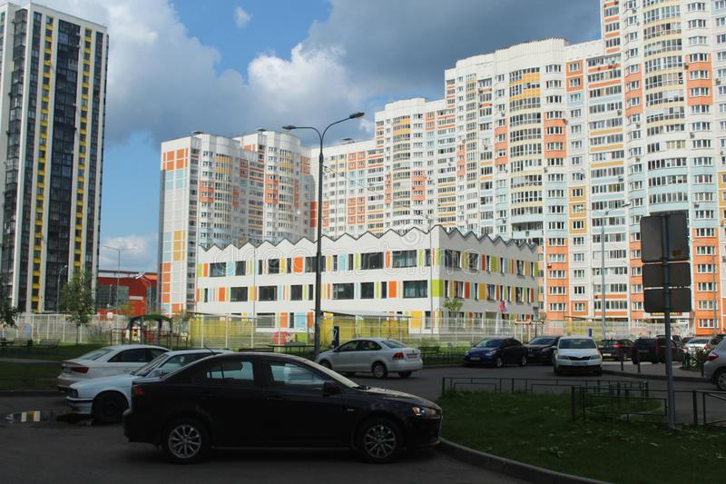 Mytischi. The Yaroslavl district. New buildings in the city. Russia. Moscow region. July 2019. Walk through the new part of Mytishchi. Photos taken during this royalty free stock photo