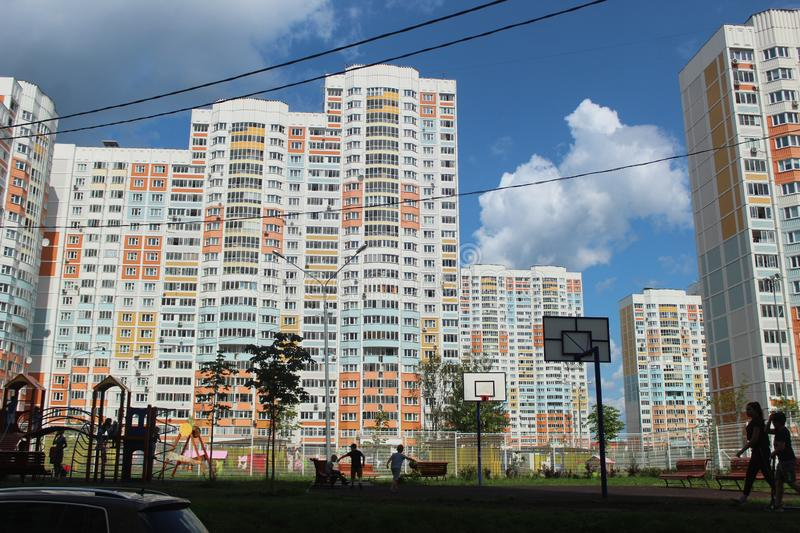 Mytischi. The Yaroslavl district. New buildings in the city. Russia. Moscow region. July 2019. Walk through the new part of Mytishchi. Photos taken during this stock photography