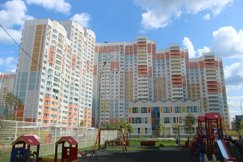 Mytischi. The Yaroslavl district. New buildings in the city. Russia. Moscow region. July 2019. Walk through the new part of Mytishchi. Photos taken during this royalty free stock photos