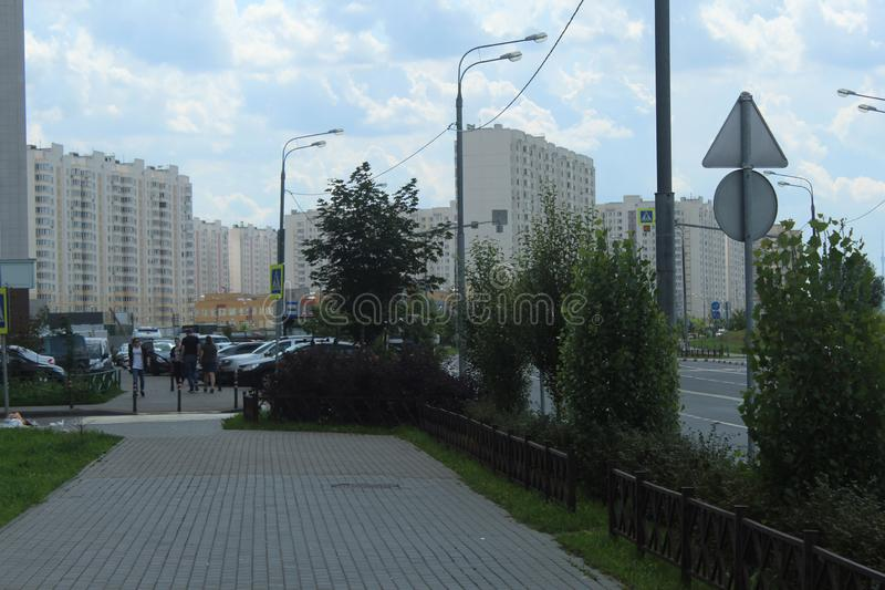 Mytischi. The Yaroslavl district. New buildings in the city. Russia. Moscow region. July 2019. Walk through the new part of Mytishchi. Photos taken during this royalty free stock images
