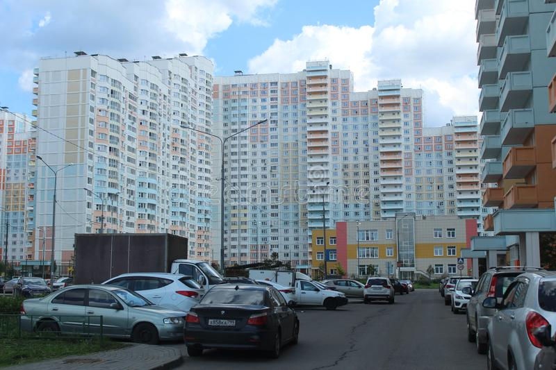 Mytischi. The Yaroslavl district. New buildings in the city. Russia. Moscow region. July 2019. Walk through the new part of Mytishchi. Photos taken during this royalty free stock photography