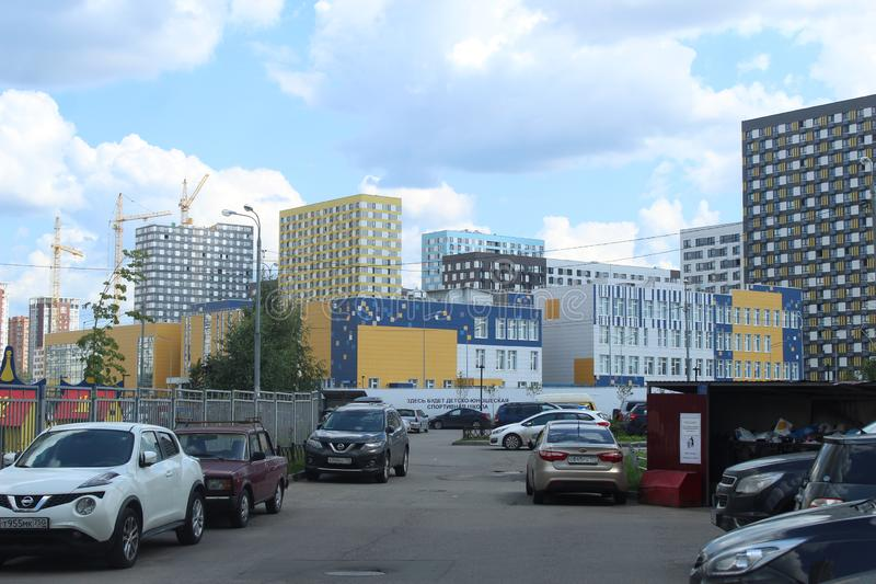 Mytischi. The Yaroslavl district. New buildings in the city. Russia. Moscow region. July 2019. Walk through the new part of Mytishchi. Photos taken during this stock photo