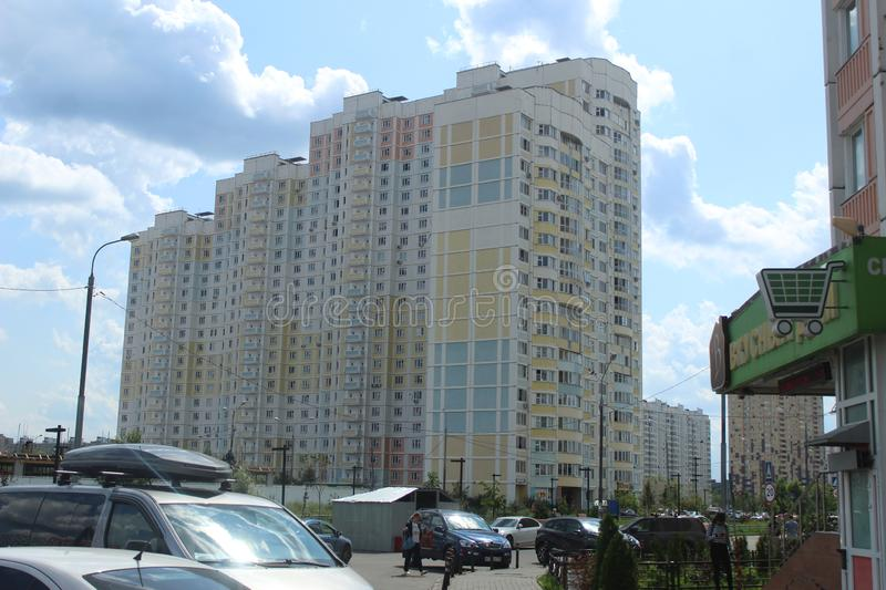 Mytischi. The Yaroslavl district. New buildings in the city. Russia. Moscow region. July 2019. Walk through the new part of Mytishchi. Photos taken during this stock images