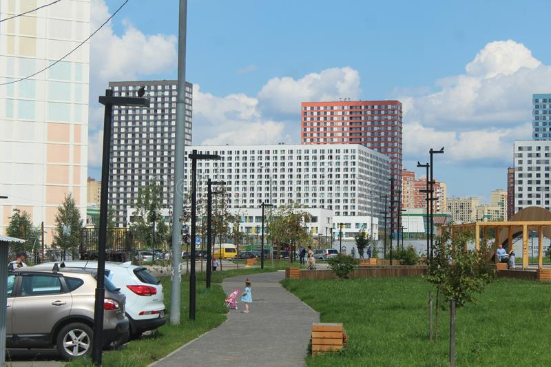 Mytischi. The Yaroslavl district. New buildings in the city. Russia. Moscow region. July 2019. Walk through the new part of Mytishchi. Photos taken during this stock image