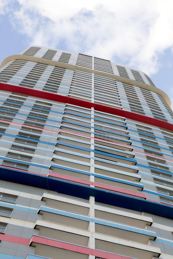 """Russia, Moscow, high-rise residential building, skyscraper. Russia, Moscow, 01.06.2019:  Residential skyscraper """"Tricolor"""" in the northeast of the city royalty free stock photos"""