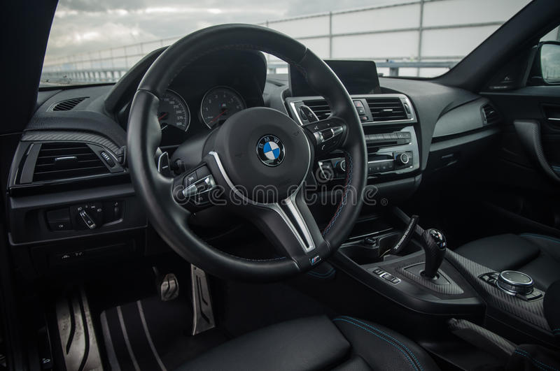 RUSSIA, MOSCOW - SEPTEMBER 24, 2016. BMW M2 sports car with Performance Pack, interior view. BMW M2 sports car with Performance Pack, interior view stock photo