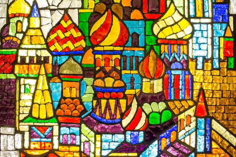Russia Moscow. Stained glass at the Trubnaya Metro station . royalty free stock images