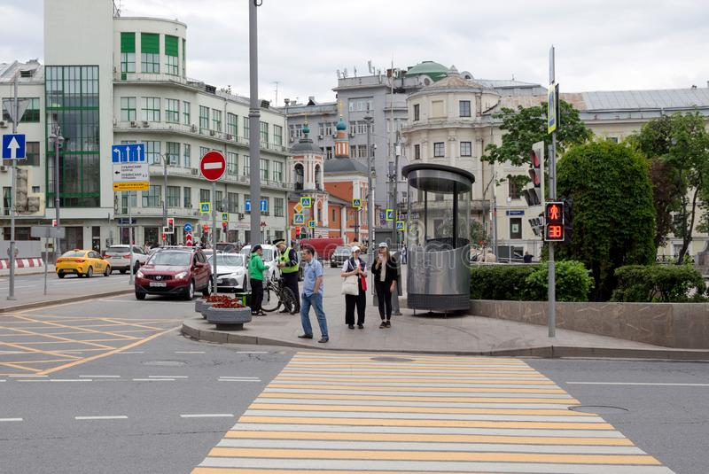 Russia, Moscow: Street New Square. Car traffic. Crossroad. Russia, moscow, city, metropolis, square, new, china-city, street, land, pedestrian, crossing stock photos