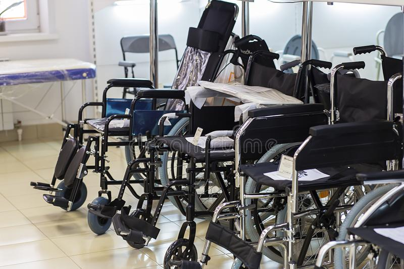 Russia, Moscow, June 2, 2018, wheelchairs in the shop, editorial stock images