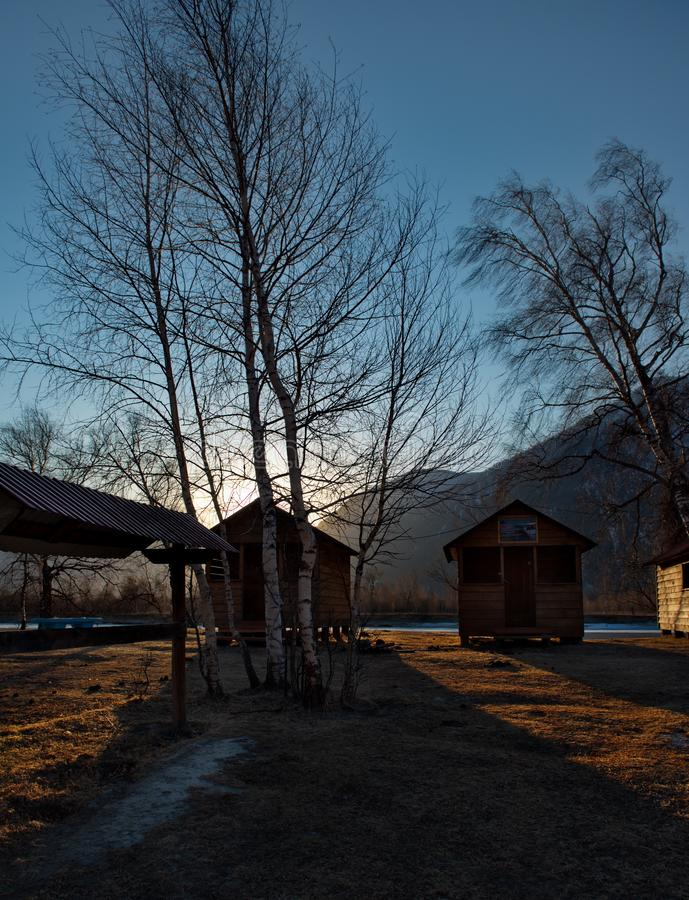 Sunset on summer camp site stock image. Image of russia ...