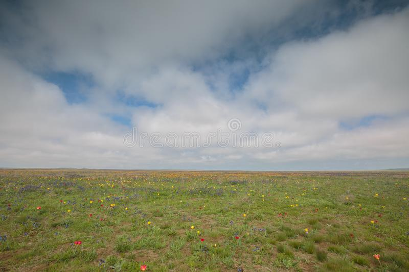 The movement of clouds in the spring in the steppe part of the C. Russia. The movement of clouds in the spring in the steppe part of the Crimea peninsula at Cape royalty free stock photo