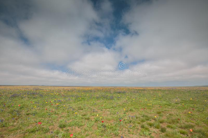 The movement of clouds in the spring in the steppe part of the C. Russia. The movement of clouds in the spring in the steppe part of the Crimea peninsula at Cape stock photos