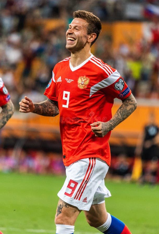 Russia national team striker Fedor Smolov celebrating his goal in UEFA Euro 2020 qualification match Russia vs San Marino 9-0 in. Saransk, Russia - June 8, 2019 stock photos