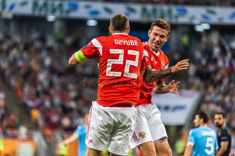 Russia national team strikers Fedor Smolov and Artem Dzyuba celebrating a goal in UEFA Euro 2020 qualification match Russia vs San. Saransk, Russia - June 8 stock photo