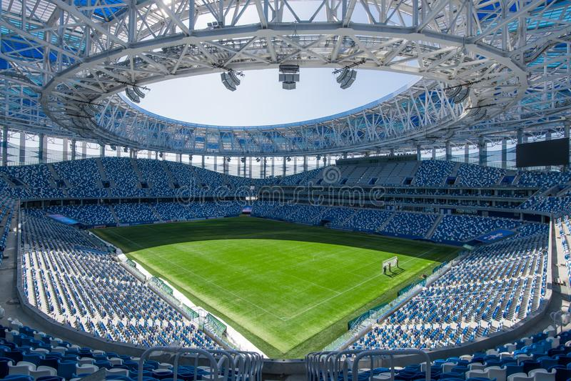 Russia, Nizhny Novgorod - April 16, 2018: View of Nizhny Novgorod Stadium, building for the 2018 FIFA World Cup in stock photo