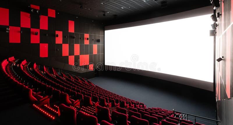 Russia, Nizhny Novgorod - November 14, 2016: Cinema Imperia Grez Nebo, Dolby Atmos. Empty red cinema hall seats stock images