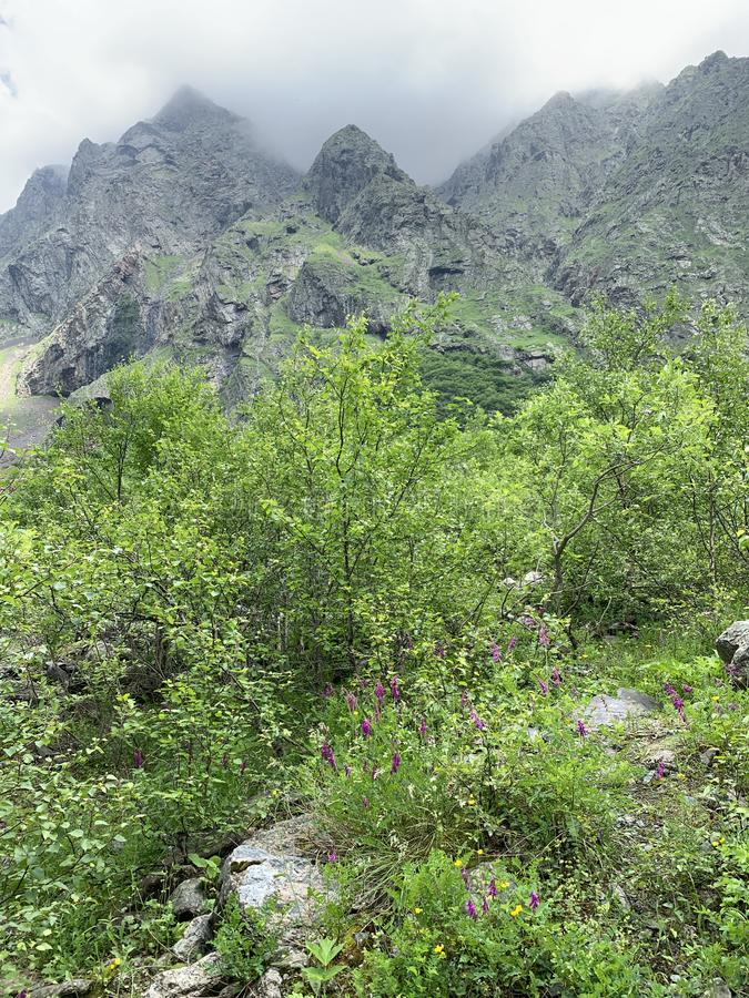 Russia, North Ossetia. Clouds loom over the valley  Midagrabin in the summer.  royalty free stock image