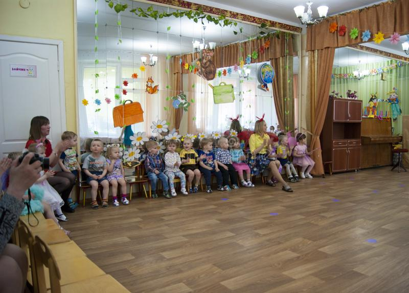 Russia Novodvinsk May 2019 - Kindergarten 24 - A theme matinee in kindergarten, where everyone is dressed in bee or butterfly stock images