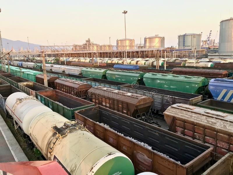 Many freight trains at the railway station. stock image