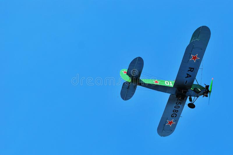 Biplane. RUSSIA, NOVOSIBIRSK - MAY 9, 2019 The Antonov An-2 is a Soviet mass-produced single-engine biplane utility. Airshow devoted to the celebration of the stock image