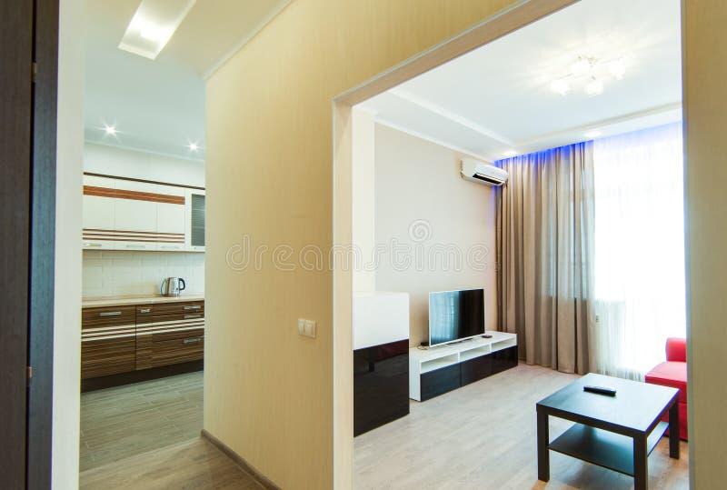 Russia, Novosibirsk - 07 May, 2016: interior room apartment. big white tv. 07 May, 2016: interior room apartment. big white tv royalty free stock photo