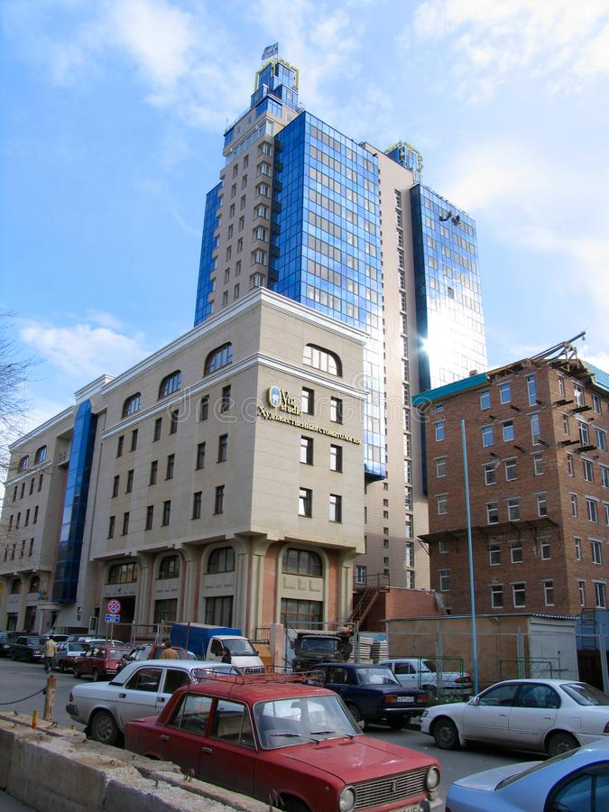 Blue apartment building royalty free stock photo