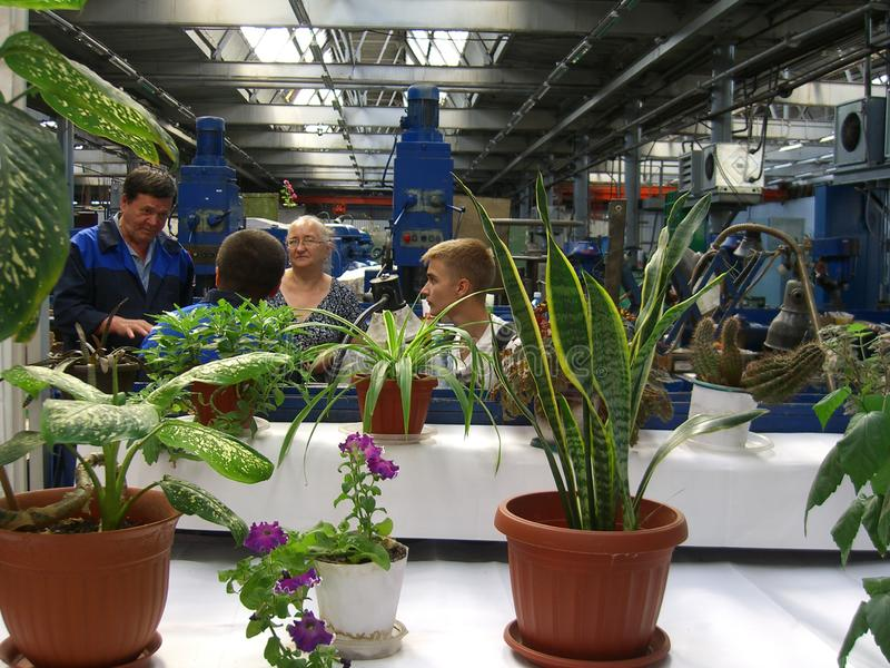 Russia, Novosibirsk, September 18, 2012: many visitors are inside the production premises on a tour of the factory floor, the. Many visitors are inside the royalty free stock image