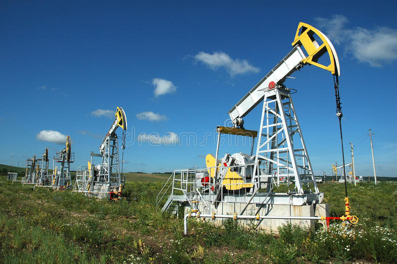 Russia.Oil Produktion auf dem Ölfeld stockfotos