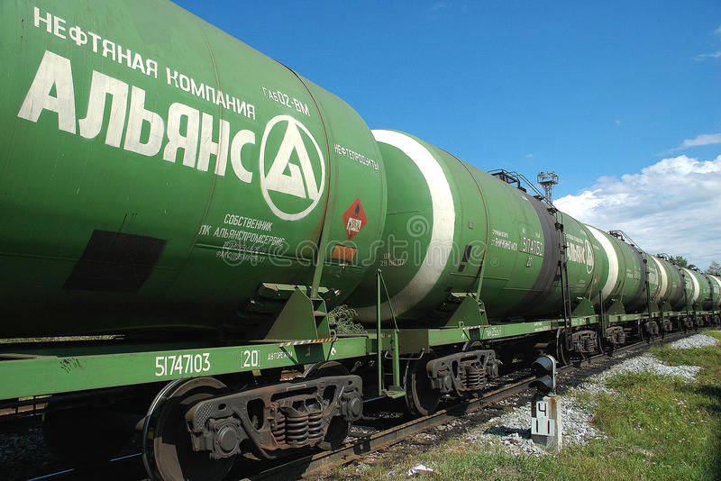 Russia. Oil tank truck train. Russia oil and gas industry. Crude oil tank truck train of Aliance Oil Company royalty free stock photo