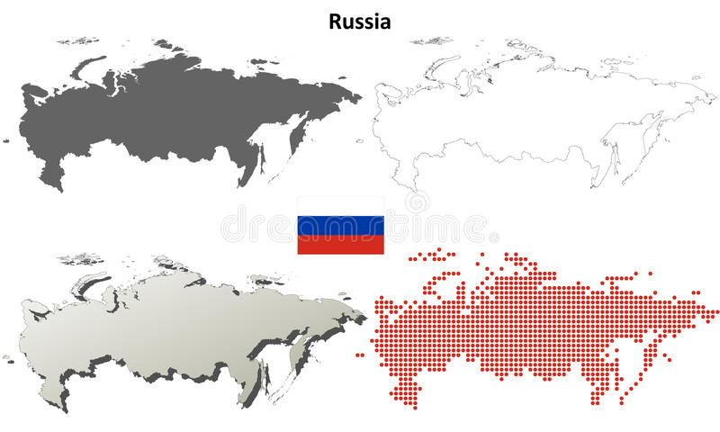 Russia outline map set. Russia blank detailed vector outline map set royalty free illustration