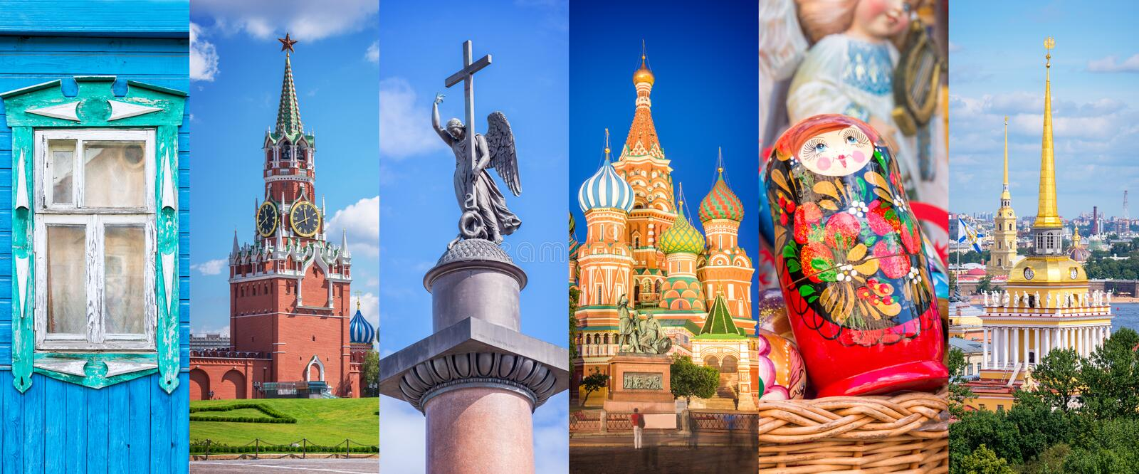 Russia, panoramic photo collage, Russia Saint Petersburg, Moscow landmarks travel and tourism concept royalty free stock photos
