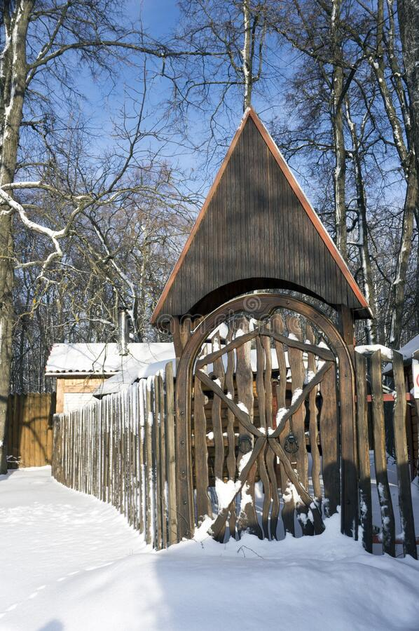 Russia. Penza. Historical place `Zaseka`. Stylized wooden gate and fence. stock images