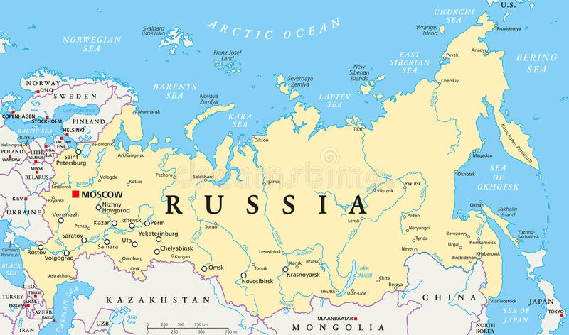 Russia Political Map stock illustration