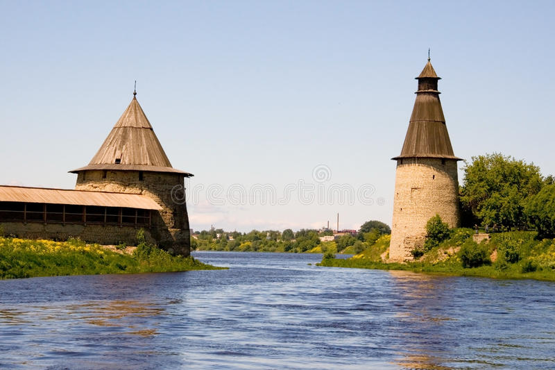 Russia. Pskov Kremlin (Krom). Travel in Russia. Pskov. Velikaya and Pskova Rivers. Kremlin (Krom) towers stock photos