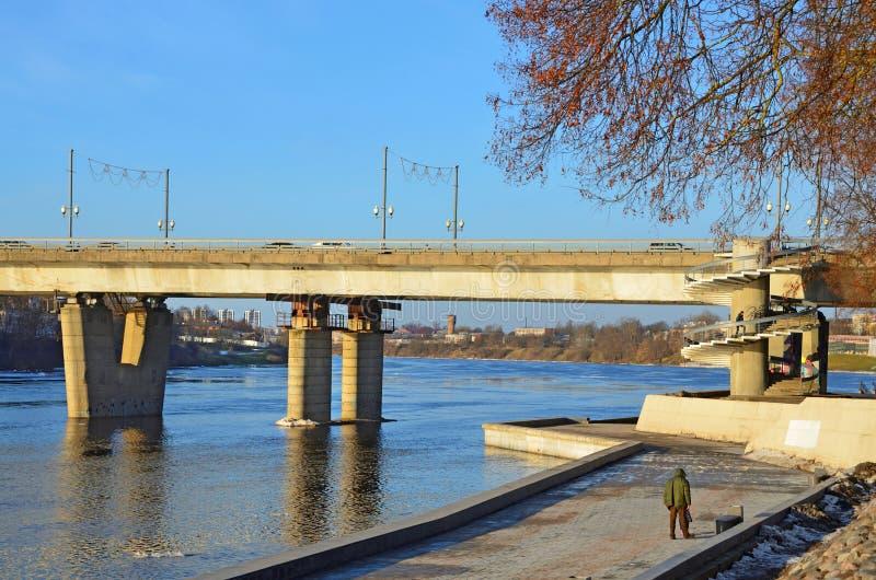 Russia, the city of Pskov. Olginsky bridge in January royalty free stock photo